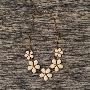 White flowered statement necklace